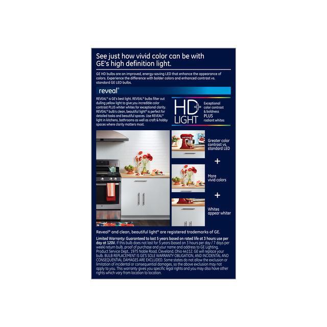 Paquet arrière de GE Reveal HD+ Luge intérieure de remplacement led améliorant la couleur 65W BR30 Ampoule (1-Pack)