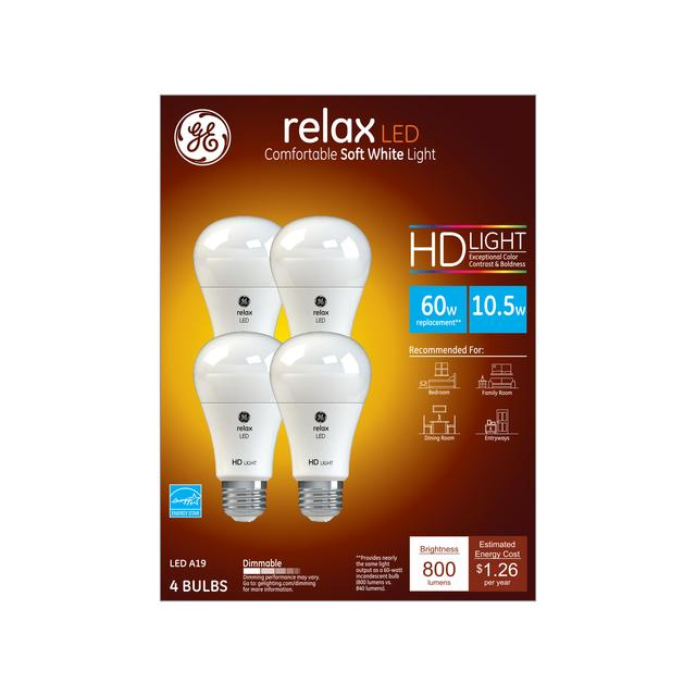 Emballage avant de GE Relax HD Soft White 60W Remplacement LED Ampoule à usage général A19 Lumier (4-Pack)