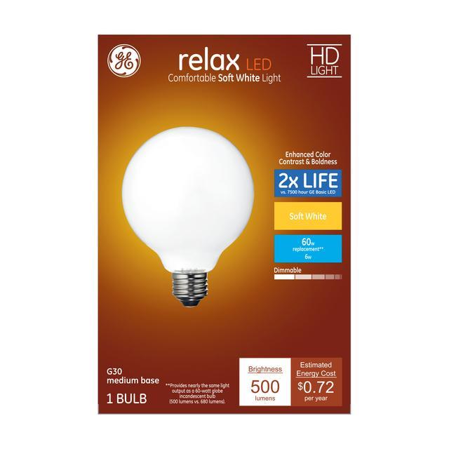 Paquet avant de GE Relax HD Soft White 60 W LED Frosted Decorative Globe Medium Base G30 Light Bulb (1-Pack)