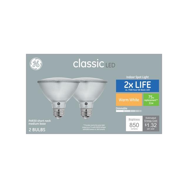 Paquet avant de GE Classic Warm White 75 W Remplacement ampoule LED Indoor Floodlight Short Neck PAR30 (2-Pack)