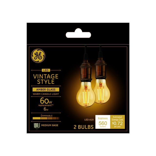 Ensemble avant de vintage chaud candlelight 60 W remplacement LED Amber Finish Straight Filament Decorative Medium Base A19 Light Bulbs (2-Pack)