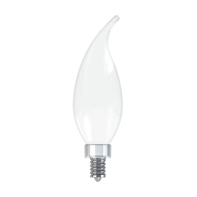 Image de produit de GE Relax HD Soft White 40W Ampoules LED de remplacement Base décorative à pointe pliée base de candélabre CAC (2-Pack)
