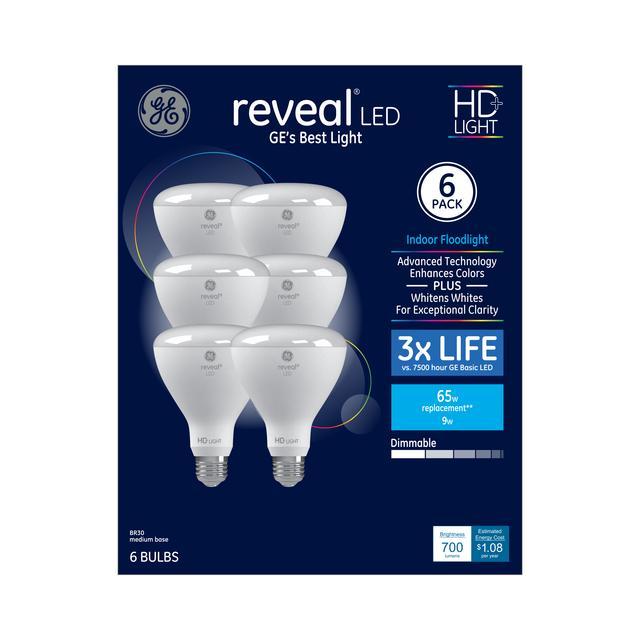 Paquet avant de GE Reveal HD+ Color-Enhancing 65 W Remplacement LED Projecteur intérieur BR30 Ampoules de lumière (6-Pack)