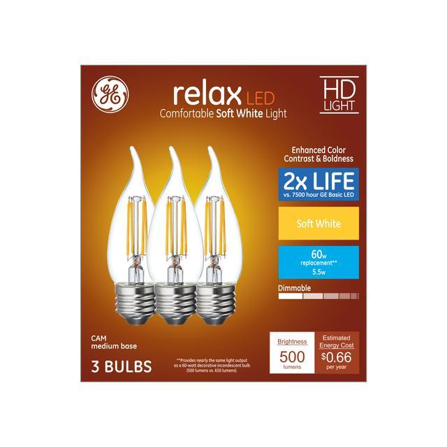 Ensemble avant de Relax HD Soft White 60 W Remplacement LED Clear Decorative Bent Tip Medium Base CAM Light Bulbs (3-Pack)