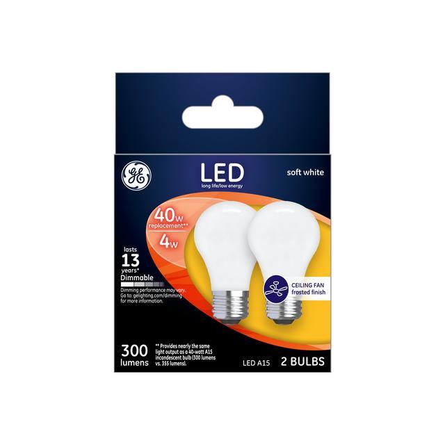 Emballage avant de GE Soft White LED 40 W Remplacement Globe décoratif givré G25 Ampoule de lumière (1-Pack)