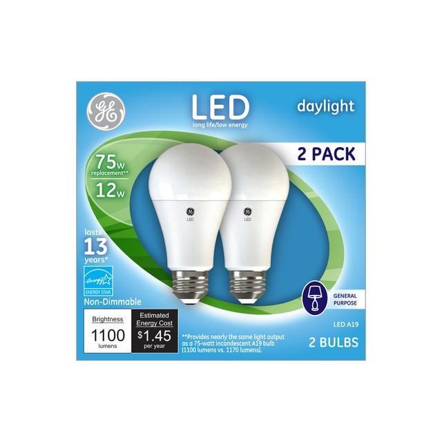 Ensemble avant de GE Daylight 75 W Remplacement LED à usage général à usage général non dimmable A19 Ampoule lumineuse