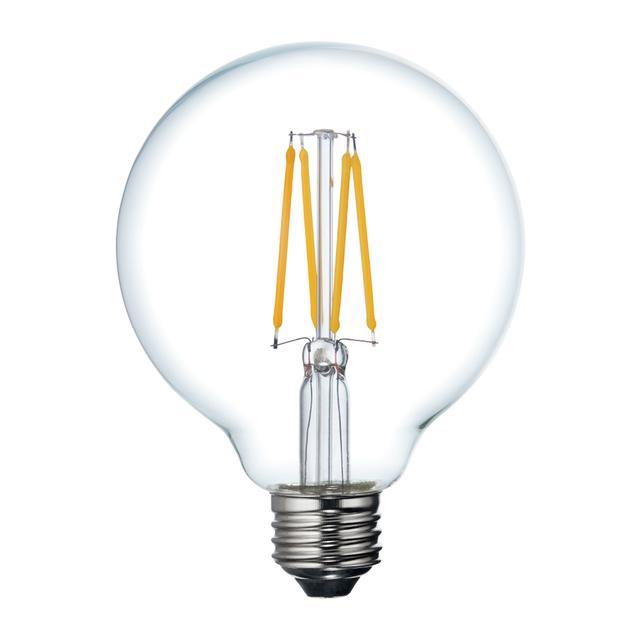 Image de produit de GE Relax HD Soft White 60W LED Ampoules décoratives Clear Globe Medium Base G30 (1-Pack)