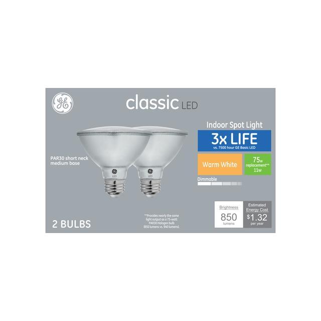 Paquet avant de GE Classic Warm White 75 W Remplacement LED Indoor Spot Light Short Neck PAR30 Ampoules légères (2-Pack)