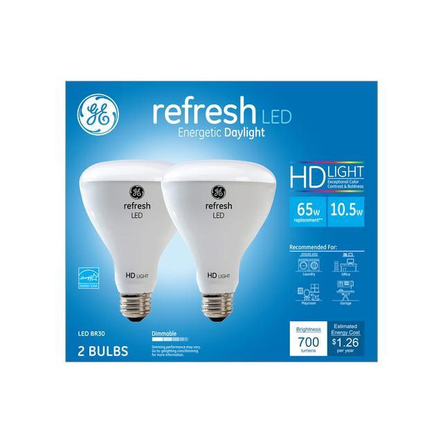 Ensemble avant de GE Refresh HD Daylight 65W Projecteur intérieur LED de remplacement BR30 Ampoules de lumière (2-Pack)