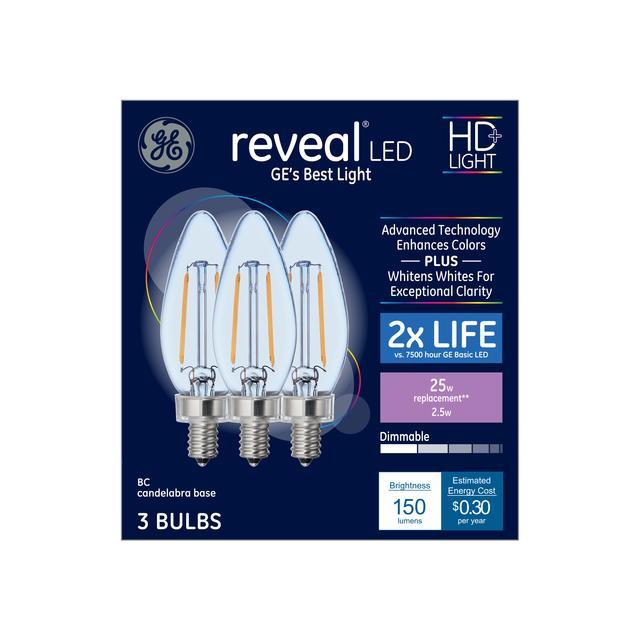 Paquet avant de GE Reveal HD+ Color-Enhancing 25 W Remplacement ampoules LED Ampoules Décoratives Clear Blunt Tip Candélabre Base BC