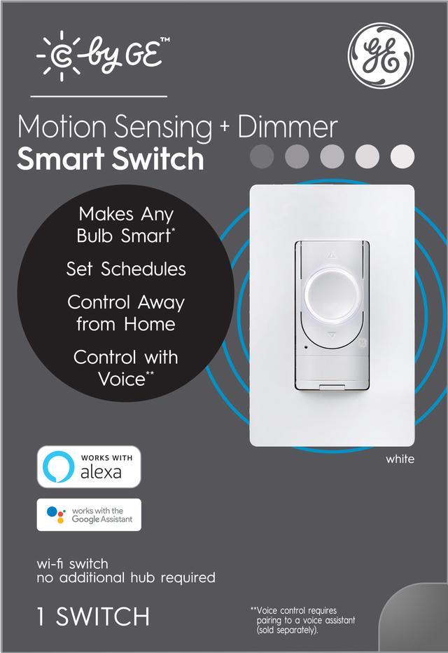 Ensemble avant de GE Smart 2 ampères Multi-Location White Smart Touchless Light Switch avec plaque murale (l'emballage peut varier)