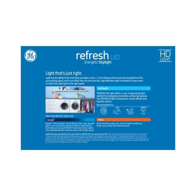 Paquet arrière de GE Refresh HD Daylight 60W Ampoules LED de remplacement à usage général A19
