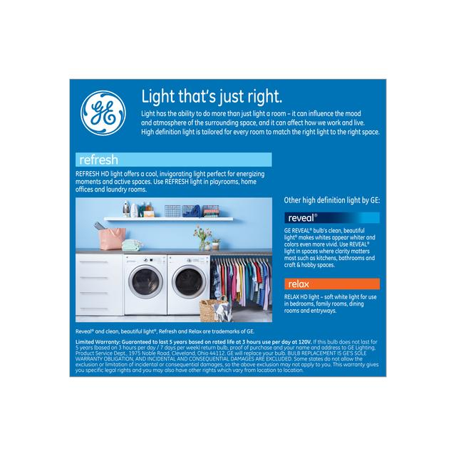 Paquet arrière de GE Refresh HD Daylight 100W Ampoules LED de remplacement Blanc Usage général A21 (2-Pack)