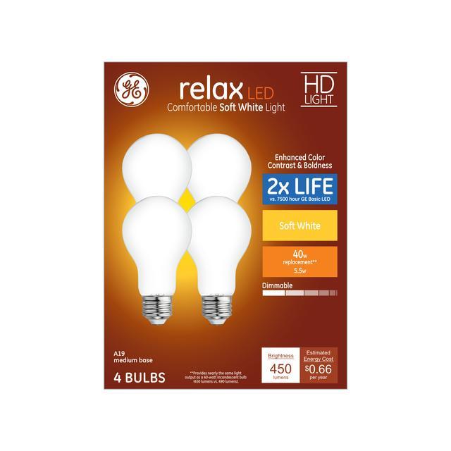 Paquet avant de Relax HD Soft White 40 W Remplacement ampoules LED à usage général A19
