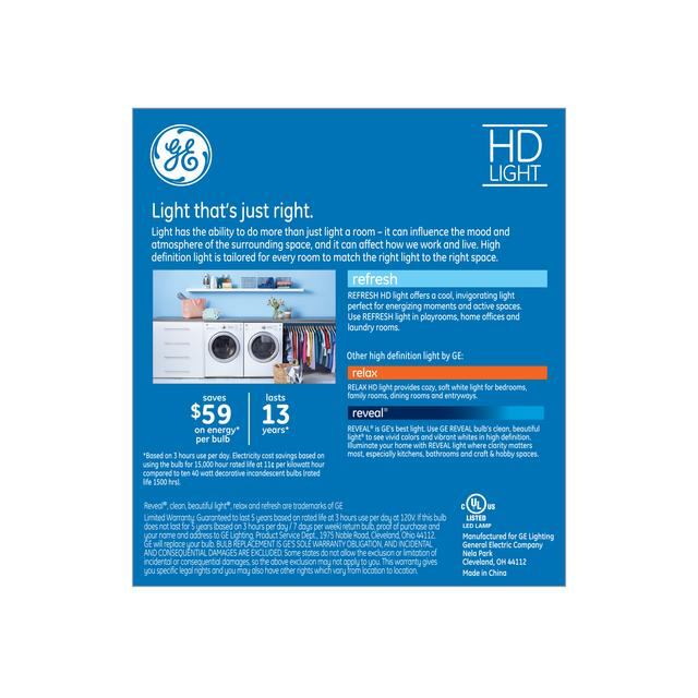 Paquet arrière de Refresh HD Daylight 40W Clear Decorative Blunt Tip Medium Base BM Light Bulbs (3-Pack)