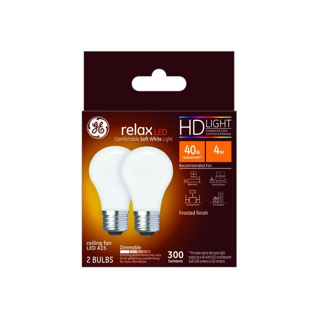 Paquet avant de GE Relax HD Soft White 40W Remplacement LED Ampoules Ventilateur de plafond Base moyenne Blanc A15 (2-Pack)