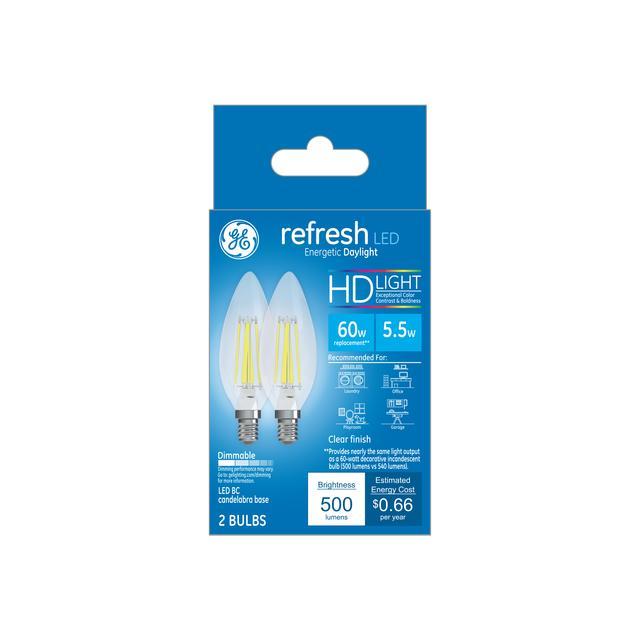 Paquet avant de GE Refresh HD Daylight 60 W Remplacement ampoules LED Décoration Clear Blunt Tip Candélabre Base BC