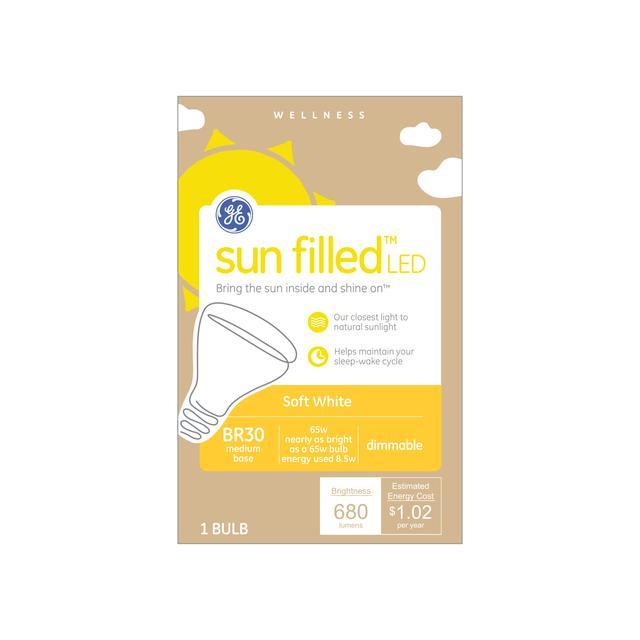 Paquet avant de GE rempli de soleil Soft White 65 W Remplacement LED Floodlight BR30 Ampoule de lumière (1-Pack)