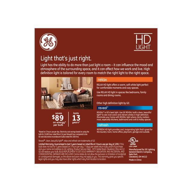Paquet arrière de Relax HD Soft White 60W Remplacement LED Clear Decorative Bent Tip Medium Base CAM Éclairages (3-Pack)