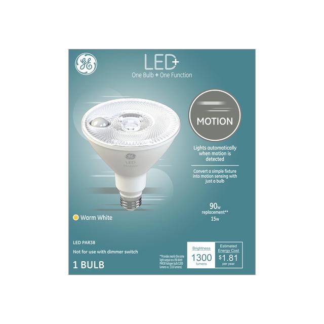 Paquet avant de LED + Motion Blanc chaud 90 W Remplacement LED Projecteur extérieur PAR38 Ampoule de lumière (1-Pack)