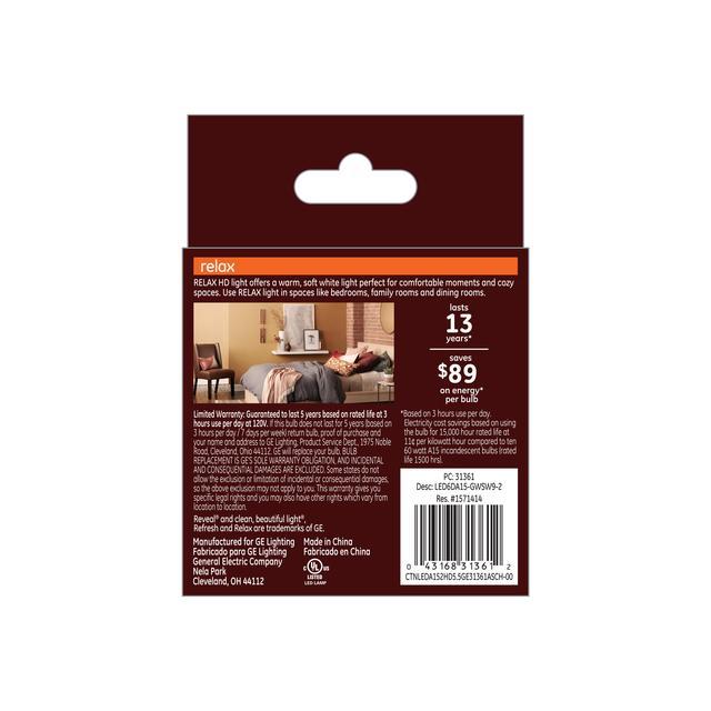 Paquet arrière de GE Relax HD Soft White 60W Ampoules LED de remplacement Ventilateur de plafond Base moyenne Blanc A15 (2-Pack)