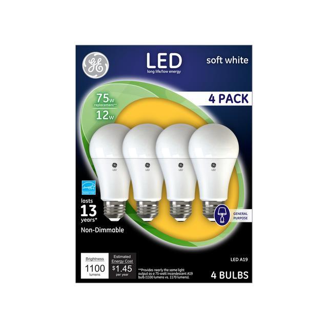 Paquet avant de GE Soft White 75 W Remplacement LED à usage général à usage général non dimmable A19 Ampoule de lumière (4-Pack)