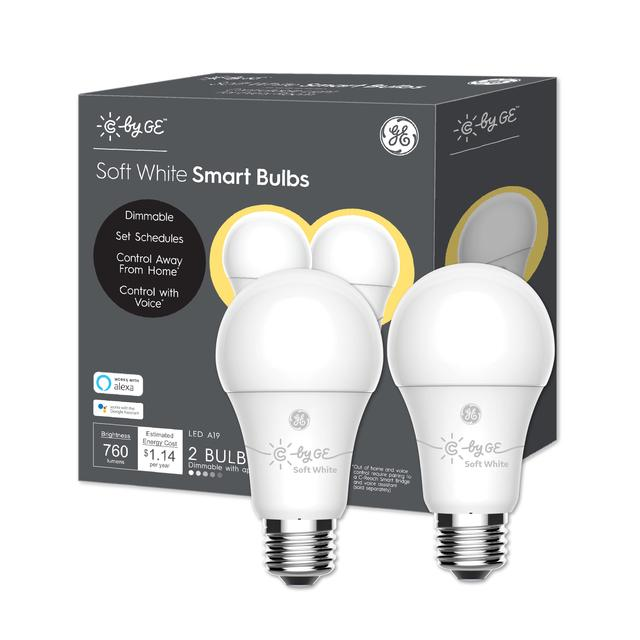 Front package of C by GE Soft White A19 Smart LED Bulbs (2-Pack)