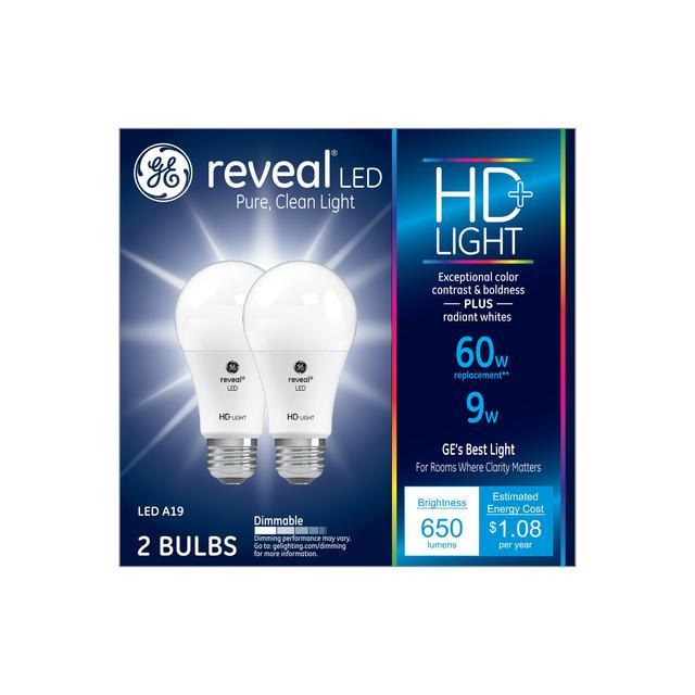Paquet avant de GE Reveal HD+ Color-Enhancing 60W Remplacement LED à usage général A19 Ampoules de lumière (2-Pack)