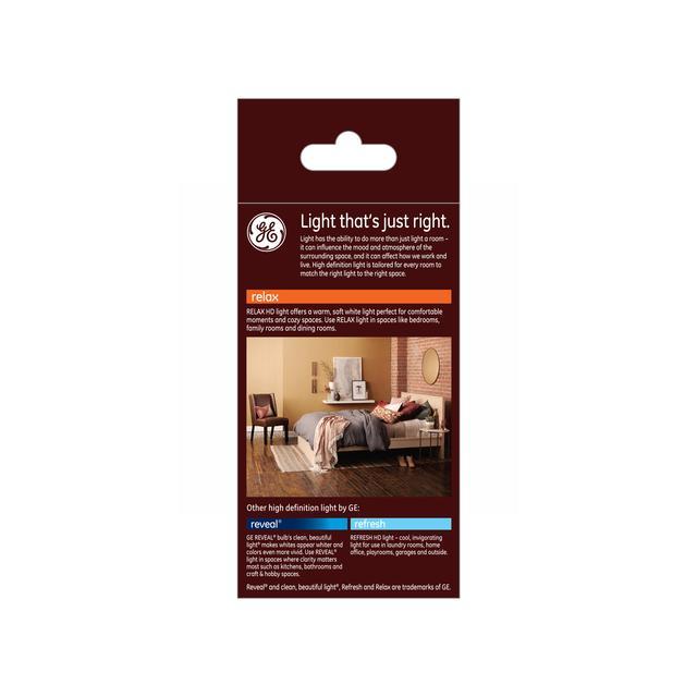 Paquet arrière de GE Relax HD Soft White 30/70/100W Remplacement LED Indoor General Purpose A19 Light Bulb