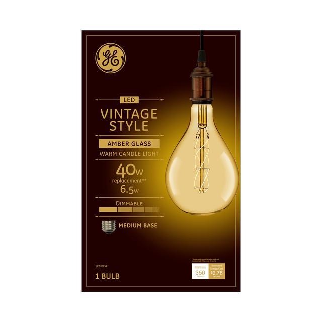 Emballage avant de GE Vintage Warm Candlelight 40 W Remplacement LED Amber Finish Filament spiral décoratif PS52 Ampoule lumineuse (1-Pack)