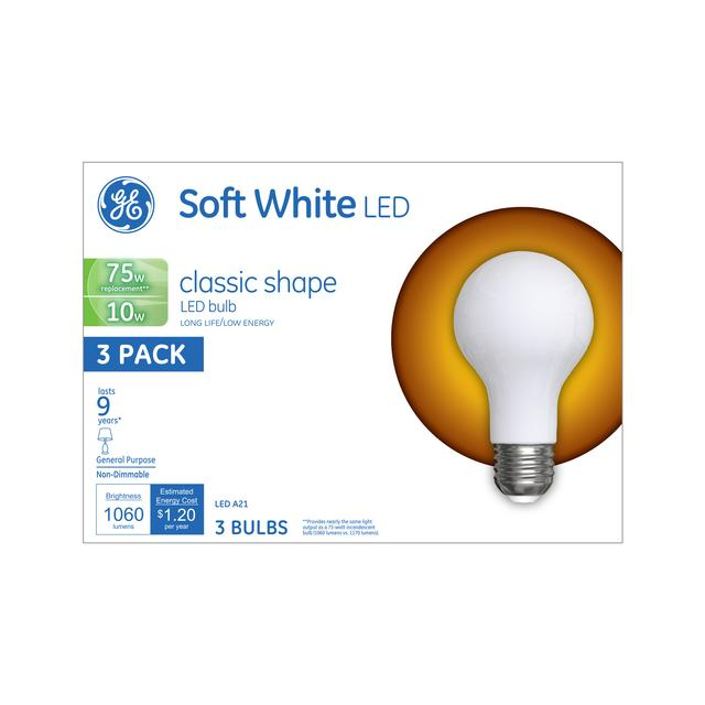 Emballage avant de GE Soft White LED 75 W Remplacement givré à usage général A21 Ampoules de lumière (3-Pack)