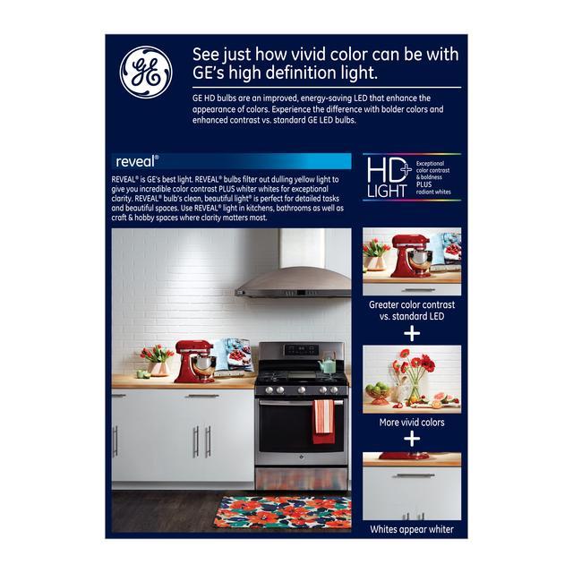 Emballage arrière de GE Reveal HD+ Ampoules A21 allume-phares à LED intérieures à usage général de 75 W améliorant la couleur (4-Pack)