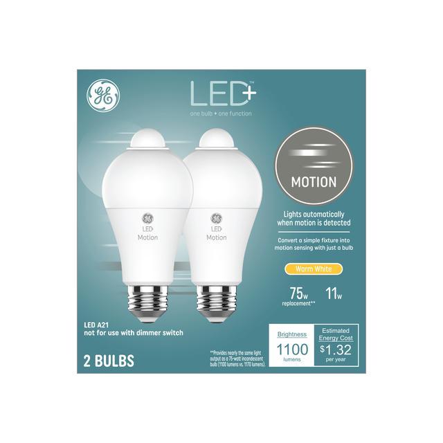 Ensemble avant de GE LED + Motion Warm White 75 W Remplacement LED Wet-Rated General Purpose A21 Ampoule de lumière (2-Pack)