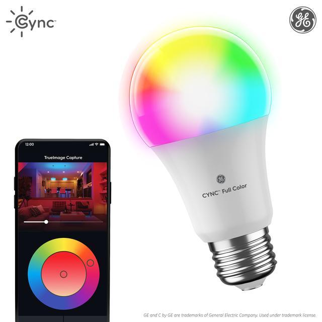 Ensemble avant de GE C by GE 60 -Watt EQ A19 Full Color Dimmable Smart LED Bulb (L'emballage peut varier)