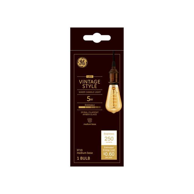 Emballage avant de GE Vintage Warm Candlelight 60 W Remplacement LED Amber Finish Spiral Filament Décoratif ST19 Ampoule lumineuse (1-Pack)