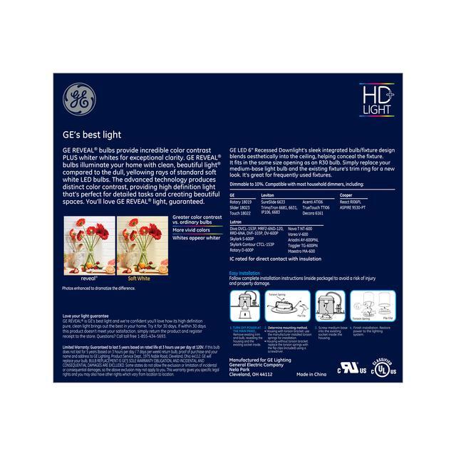 Paquet arrière de Reveal HD + Color-Enhancing 65W Ampoule LED de remplacement Downlight projecteur intérieur RS6