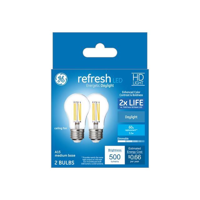 Ensemble avant de Refresh HD Daylight 60W Remplacement LED Clear Ceiling Fan A15 Eaux légers (2-Pack)
