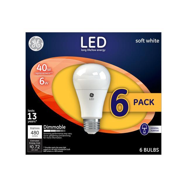Paquet avant de GE Soft White LED 40 W Remplacement à usage général A19 Ampoules de lumière (6-Pack)