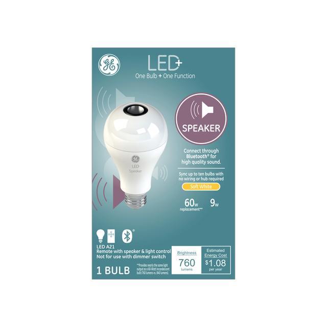 Ensemble avant de GE LED+ Haut-parleur Soft White 60 W Remplacement LED À l'intérieur A21 Light Bulb (1-Pack)