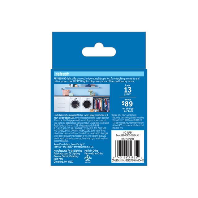 Paquet de dos de GE Refresh HD Daylight 60W Remplacement AMPOULES LED Ventilateur de plafond Base moyenne Blanc A15 (2-Pack)