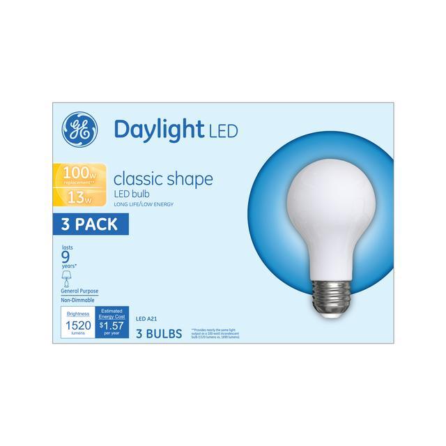 Emballage avant d'ampoules à usage général à A21 usage général non dimmables GE Daylight 100 W de remplacement (3-Pack)