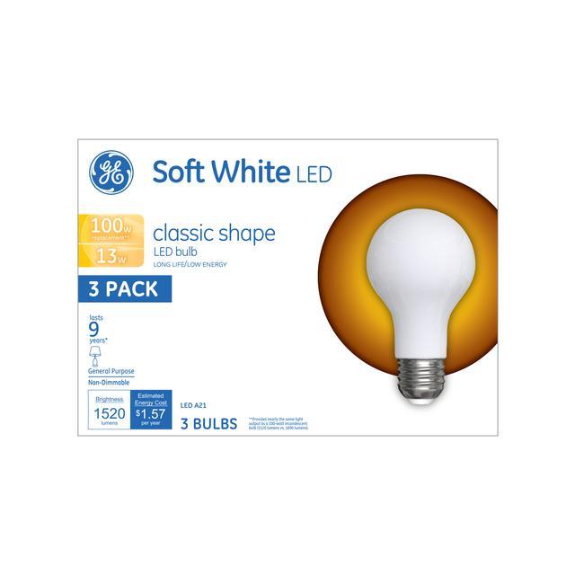Emballage avant de GE Soft White LED 100 W Remplacement givré non dimmable à usage général A21 Ampoules de lumière (3-Pack)