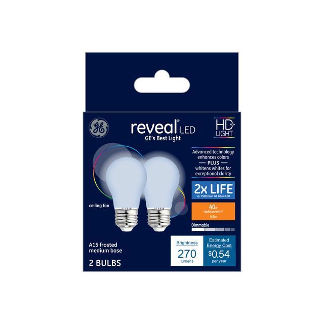 Paquet avant de Reveal HD + Color-Enhancing 40 W Remplacement LED givré Ventilateur de plafond base moyenne A15 Ampoules de lumière