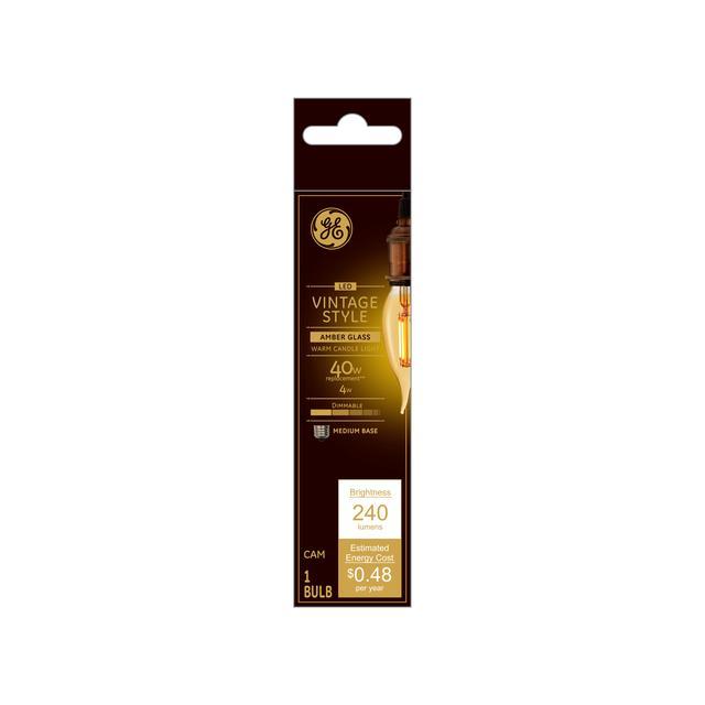 Emballage avant de GE Vintage LED 40 W Remplacement Amber Finish Filament droit Pointe Décorative Courbée Moyenne Base CAM Ampoule de lumière (1-Pack)