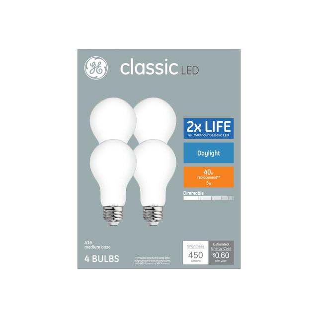 Paquet avant de Classic Daylight 40 W Remplacement ampoules LED à usage général A19 (4-Pack)