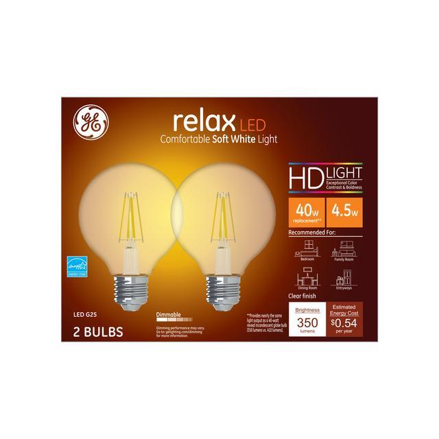 Paquet avant de GE Relax HD Soft White 40W Remplacement ampoules LED Ampoules Décorative Clear Globe Base moyenne G25 (2-Pack)