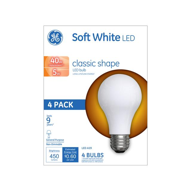 Ge 40w Replacement Soft White Led Light Bulb General Purpose A19 4 Pack