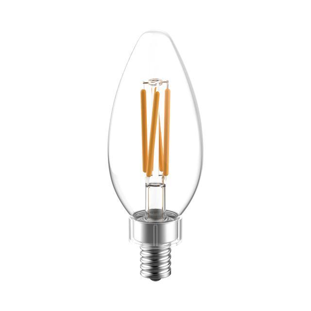 Image de produit de GE Reveal HD+ Ampoules de lustre LED de remplacement de 60 W améliorant la couleur, 2-Pack, Clear, Blunt Tip, Ampoules LED de base de candélabre, Ampoule E12, BC