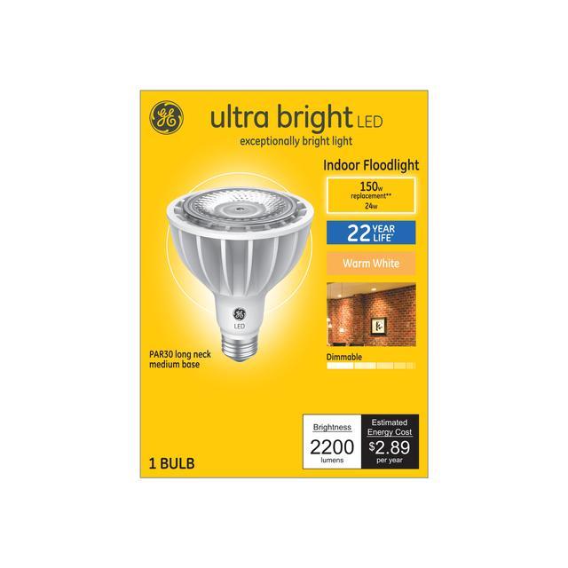 Paquet avant de GE Ultra Bright Warm White 150 W Remplacement LED Indoor Floodlight Long Neck PAR30 Ampoule de lumière (1-Pack)