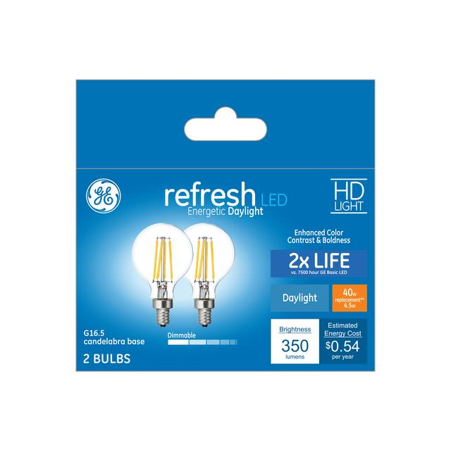 Ensemble avant de Refresh HD Daylight 40 W Remplacement ampoules LED Decorative Clear Globe Candelabra Base G16.5